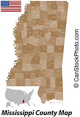 Mississippi County Map - A large and detailed map of the...