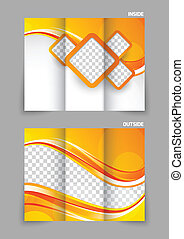 Tri-fold brochure - Abstract orange tri-fold brochure...
