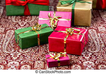 Gifts in Red, Green and Gold - Plain presents in red,...