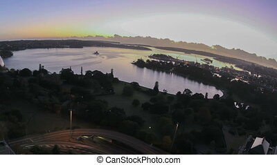 Sydney Bay Area Sunrise Timelapse in fisheye aerial view