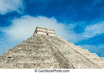 el, itza, Chichen, pirámide, templo, Kukulkan, Yucatán,...