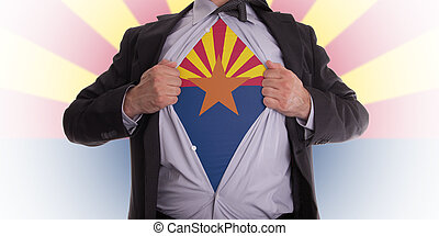Businessman with Arizona flag t-shirt - Businessman rips...
