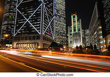 Traffic through business buildings in Hong Kong