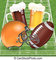 American Football Poster with Helmet, Ball, Field and...