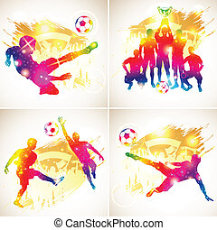 Soccer Silhouette - Bright Rainbow Silhouette Soccer...