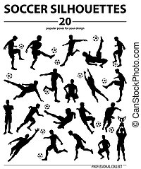 Silhouettes Soccer Players - Set Silhouettes Soccer Players,...