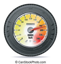 Racing Concept - Speedometer with Tire, vector isolated on...