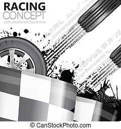 Racing Concept - Flags, Tires and Tracks, grunge vector...