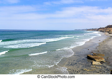Azure Shore of Solana Beach, CA - Azure Pacific Ocean Waters...