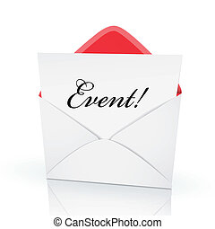 the word event on a card in an envelope