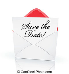 the words save the date on a card in an envelope