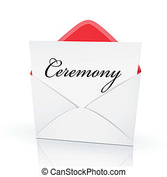 the word ceremony on a card in an envelope
