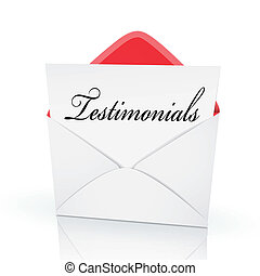 the word testimonials on a card