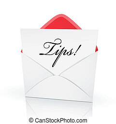 the word tips on a card in an envelope