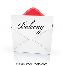 the word balcony on a card in an envelope