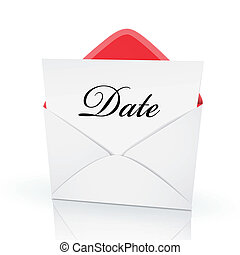 the word date on a card in an envelope