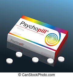 Psycho Pill - Pills named Psychopill with a colorful spiral...