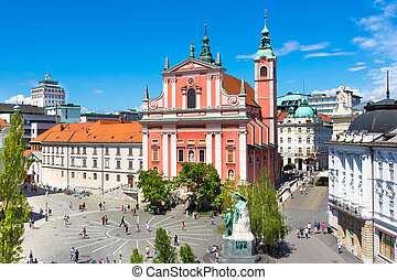 Preseren square, Ljubljana, capital of Slovenia - Romantic...