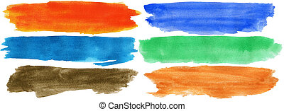 Watercolor hand painted brush strokes - Set of watercolor...