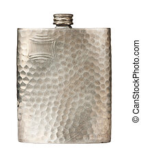 Old pewter flask - Antique pewter flask for alcohol isolated...