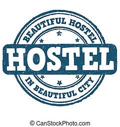 Hostel stamp - Hostel grunge rubber stamp on white...