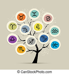 Art tree with zodiac signs for your design. Vector...