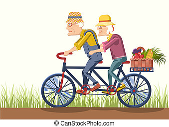 Old man and old woman drive by bike.Vector couple gardeners...
