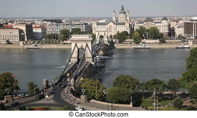 Traffic of cars on Secheni Bridge through Danube in Budapest