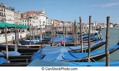 Gondolas in Venice - Scenery with Gondolas in Venice