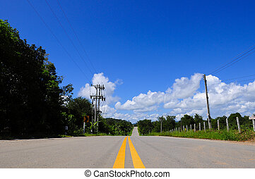 road with clear blue sky