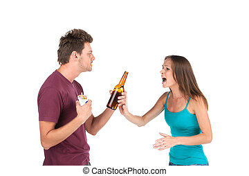 Drunk man gives alcohol to girl woman refuses and shouts at...