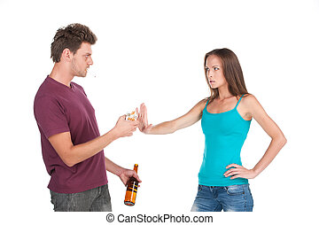 Drunk man gives cigarette to girl man and woman standing...