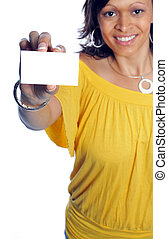 businesscard - woman hold out her business card and smiling