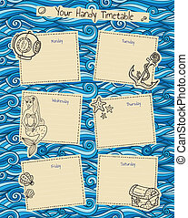 Timetable - Time table with doodles marine theme and waves...
