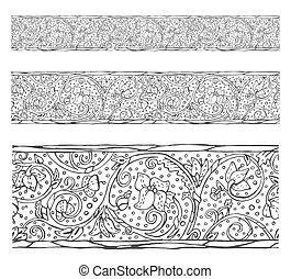 Antique seamless vector border, Medieval engraving style...