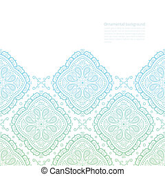 Vector ornate background with copy space, green-blue border on white