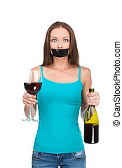Woman standing with alcohol on white background Beautiful...