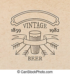 Vector vintage label on craft paper