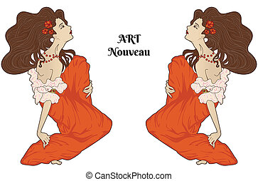 Art-nouveau style vector sitting women isolated on white,...