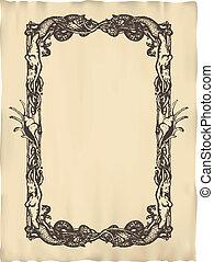 Vector vertical vintage frame - Vector vertical vintage...
