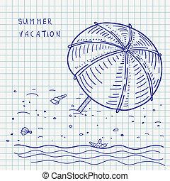 summer beach pen sketch