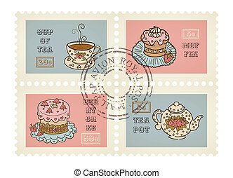 Vector postage stamps retro pastry theme, canceled, decorative set for scrapbooking