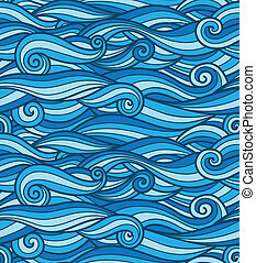 Vector seamless wave pattern, blue waves or clouds, bright...