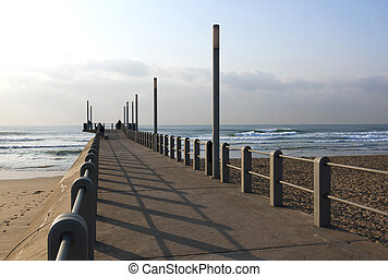 Pedestrian Pier Leading off Beach into Sea Durban, South...