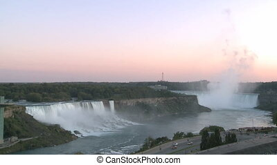 Niagara Falls at sunrise - The great Niagara Falls viewed...