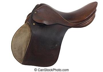 usado, cavalo, sela, inglês, estilo