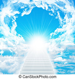 Stairs in sky with clouds and sun Concept background