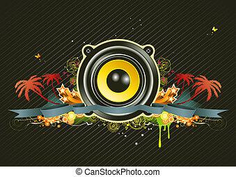music scene - illustration of urban music scene - Speaker...