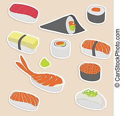 sushi set - illustration of sushi set make in sticker style...