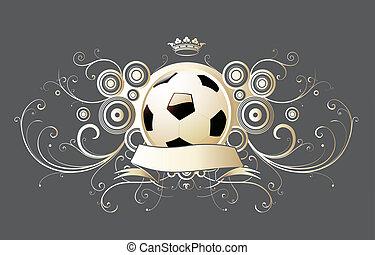 soccer emblem - illustration of winged soccer emblem with...